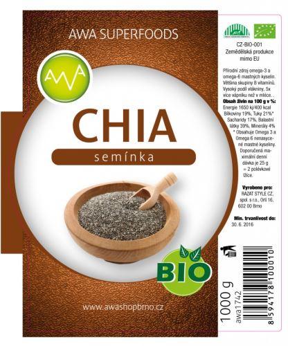 AWA superfoods Chia semienka BIO 1000 g